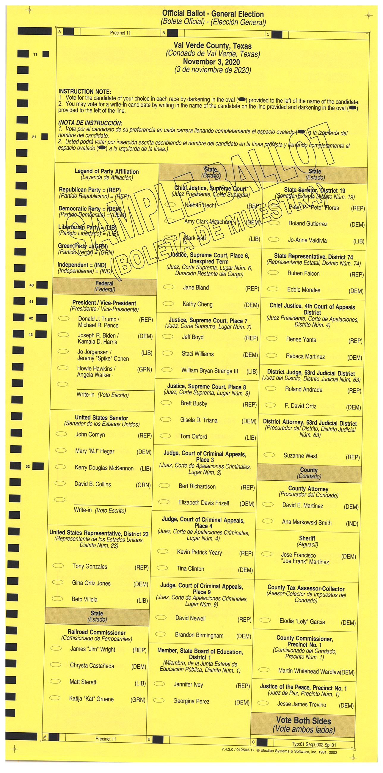 PRECINCT 11 SAMPLE BALLOT FRONT