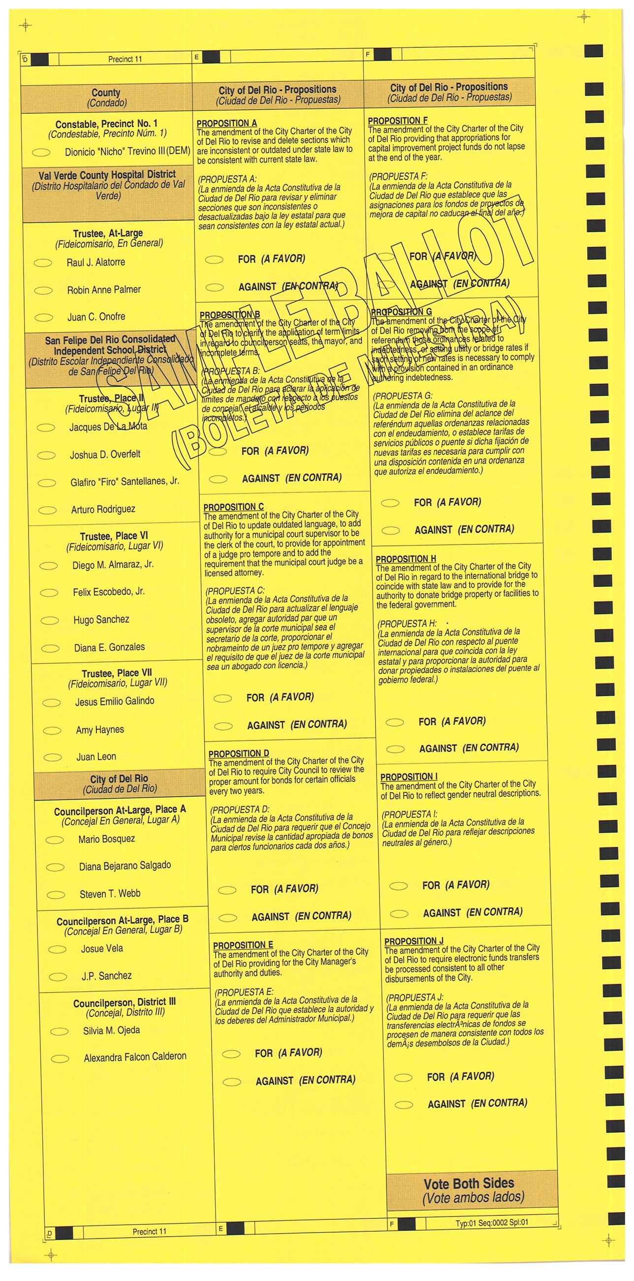 PRECINCT 11 SAMPLE BALLOT BACK