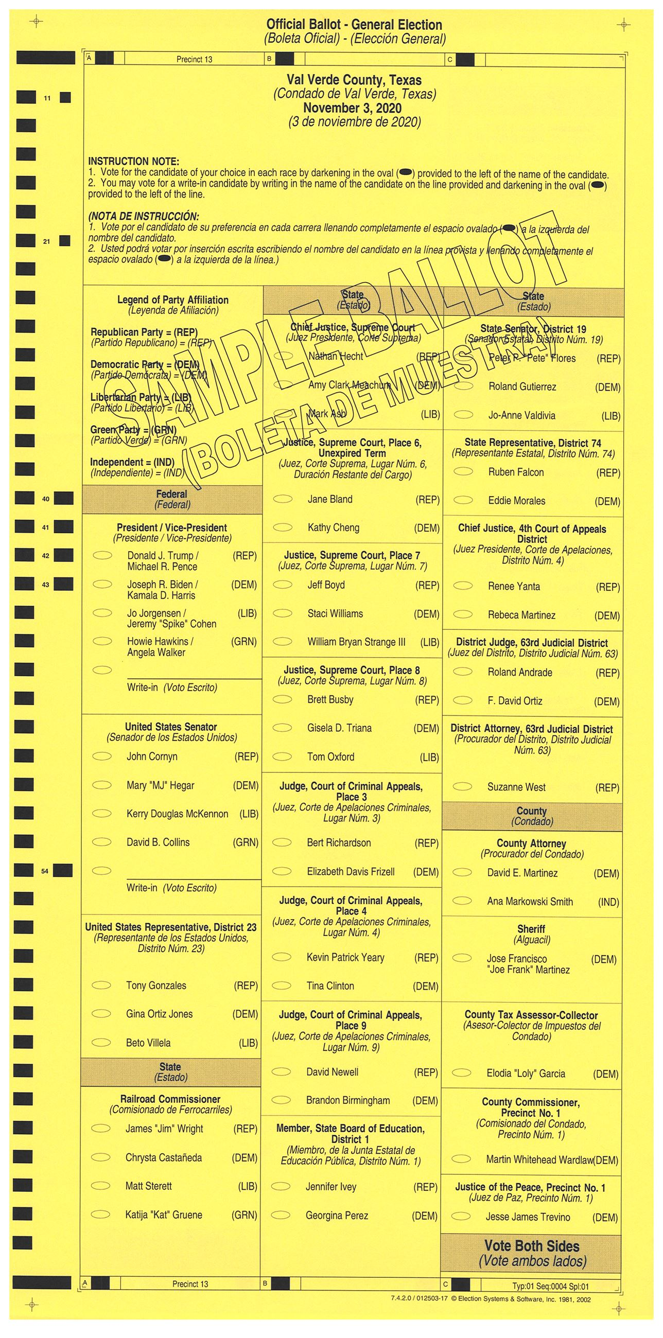PRECINCT 13 SAMPLE BALLOT FRONT