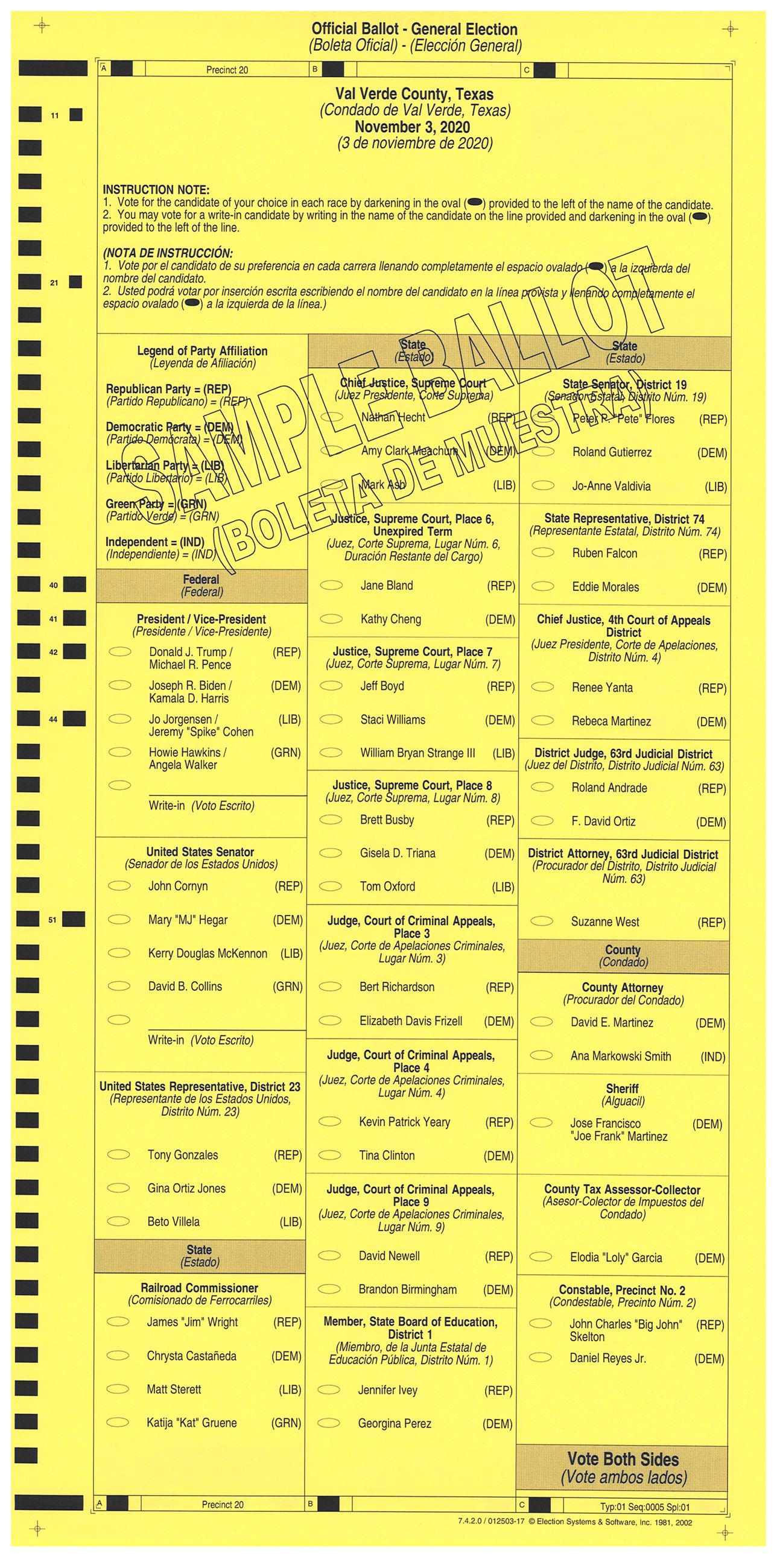 PRECINCT 20 SAMPLE BALLOT FRONT