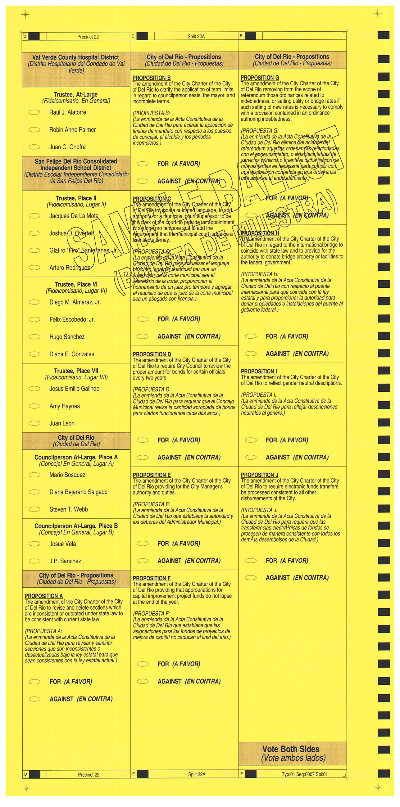 PRECINCT 22A SAMPLE BALLOT BACK