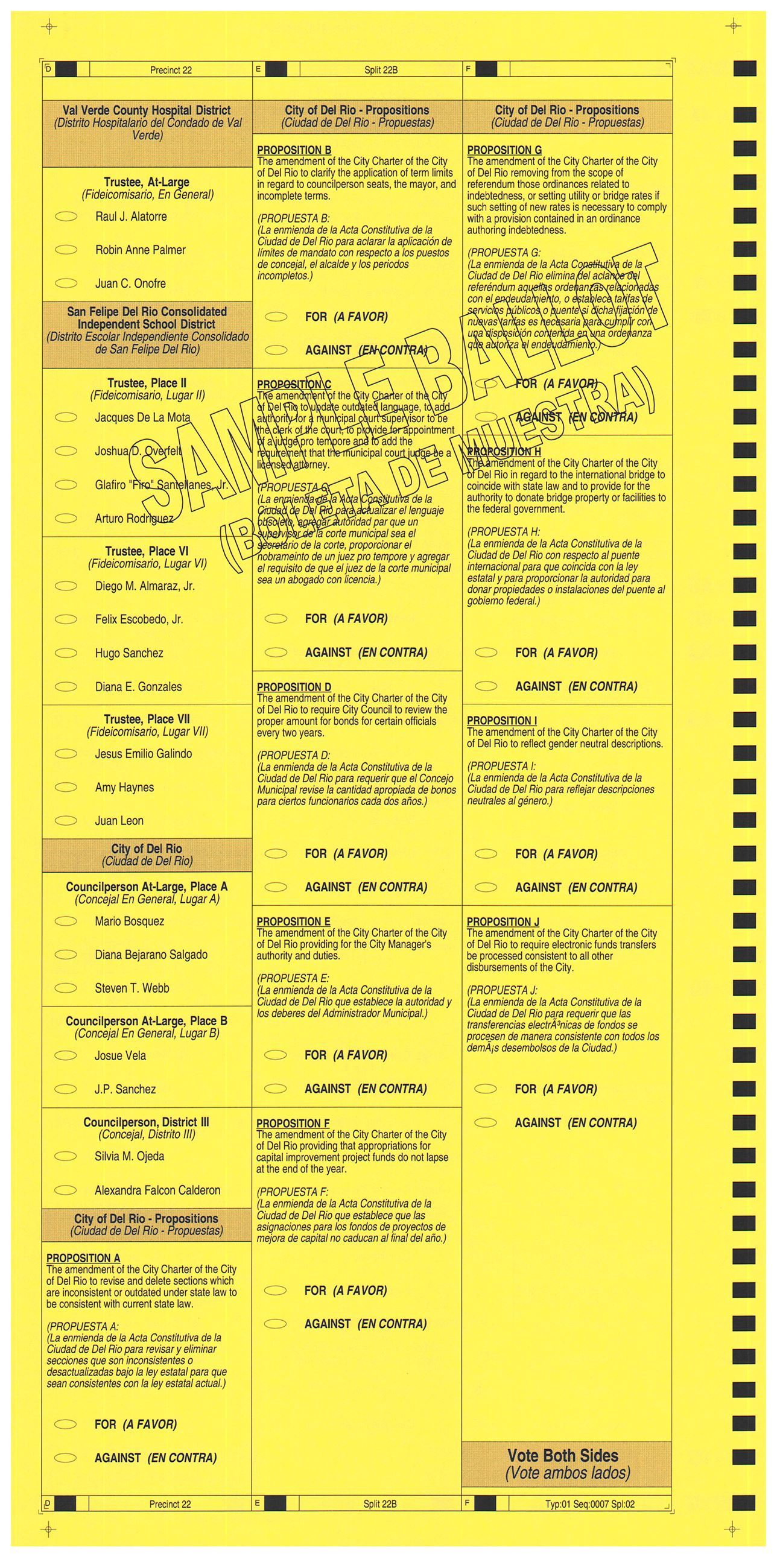 PRECINCT 22B SAMPLE BALLOT BACK