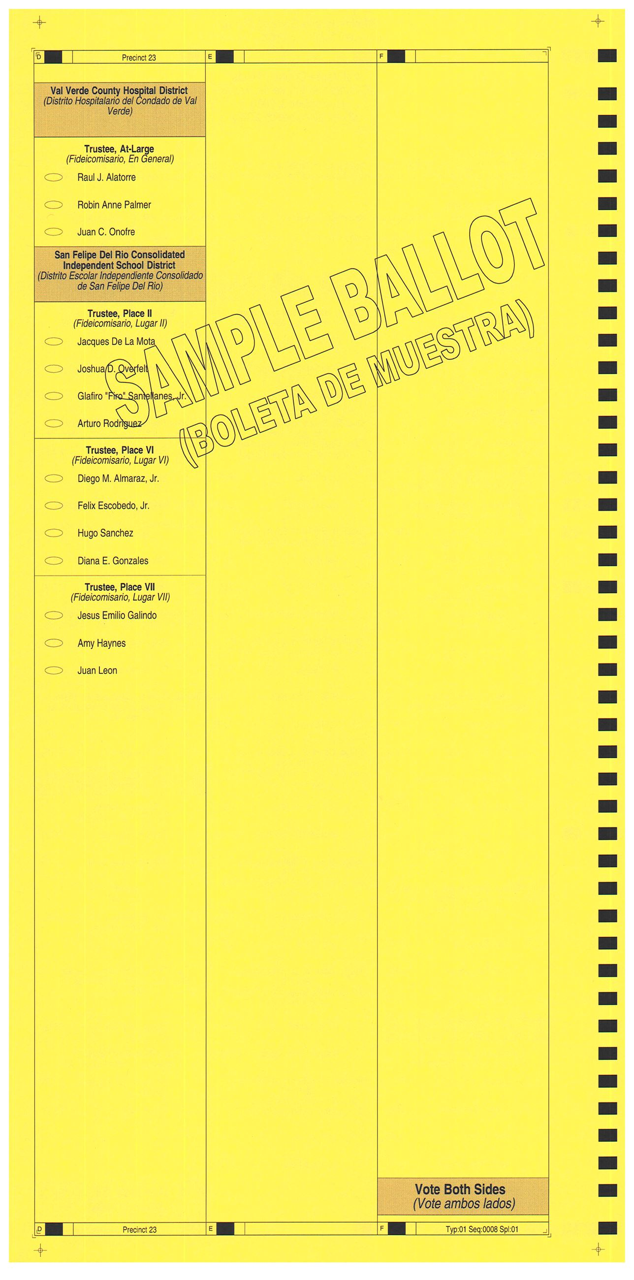 PRECINCT 23 SAMPLE BALLOT BACK