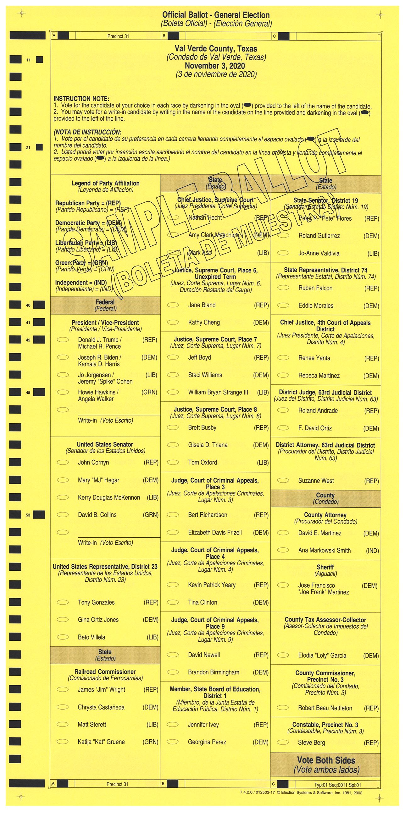 PRECINCT 31 SAMPLE BALLOT FRONT