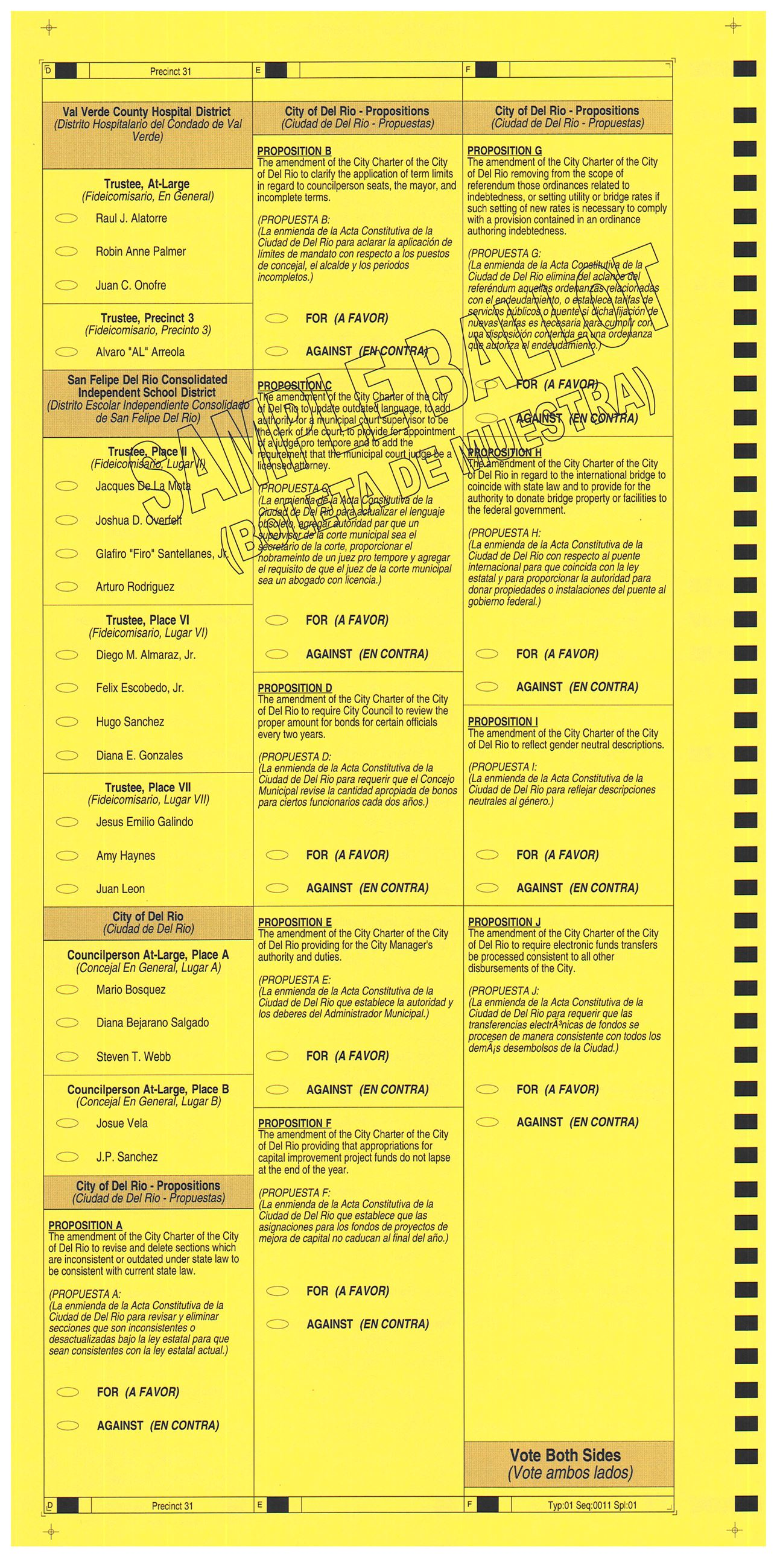 PRECINCT 31 SAMPLE BALLOT BACK