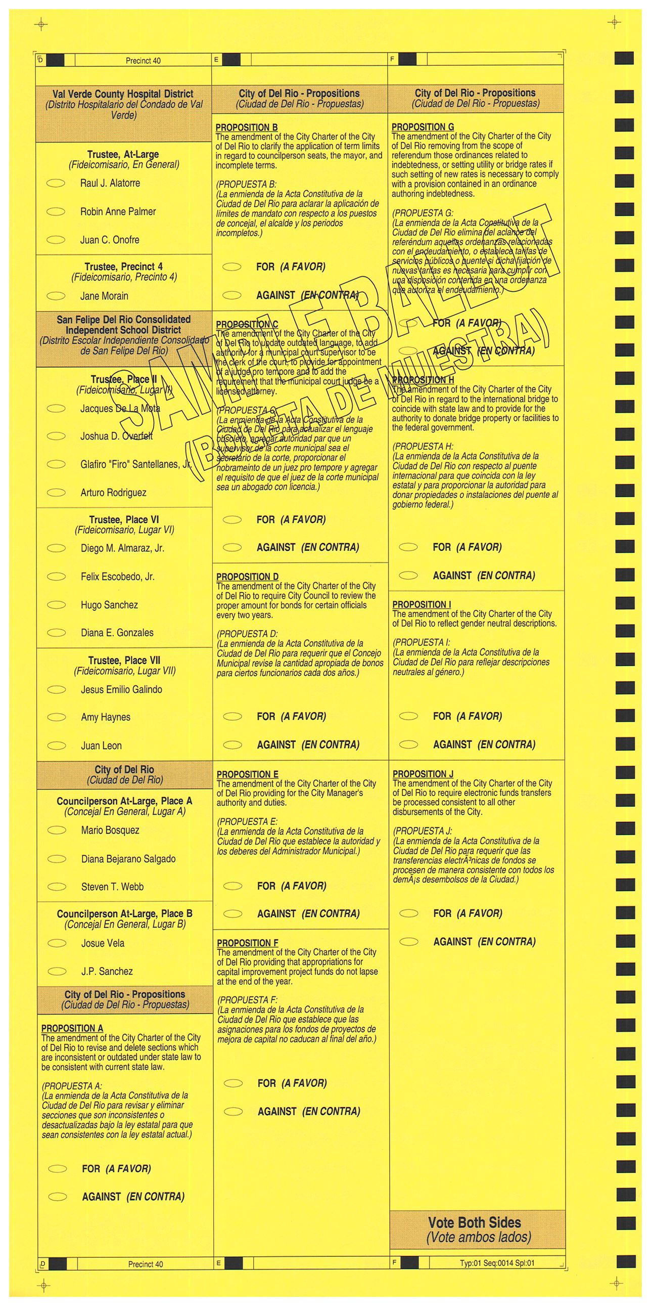PRECINCT 40 SAMPLE BALLOT BACK