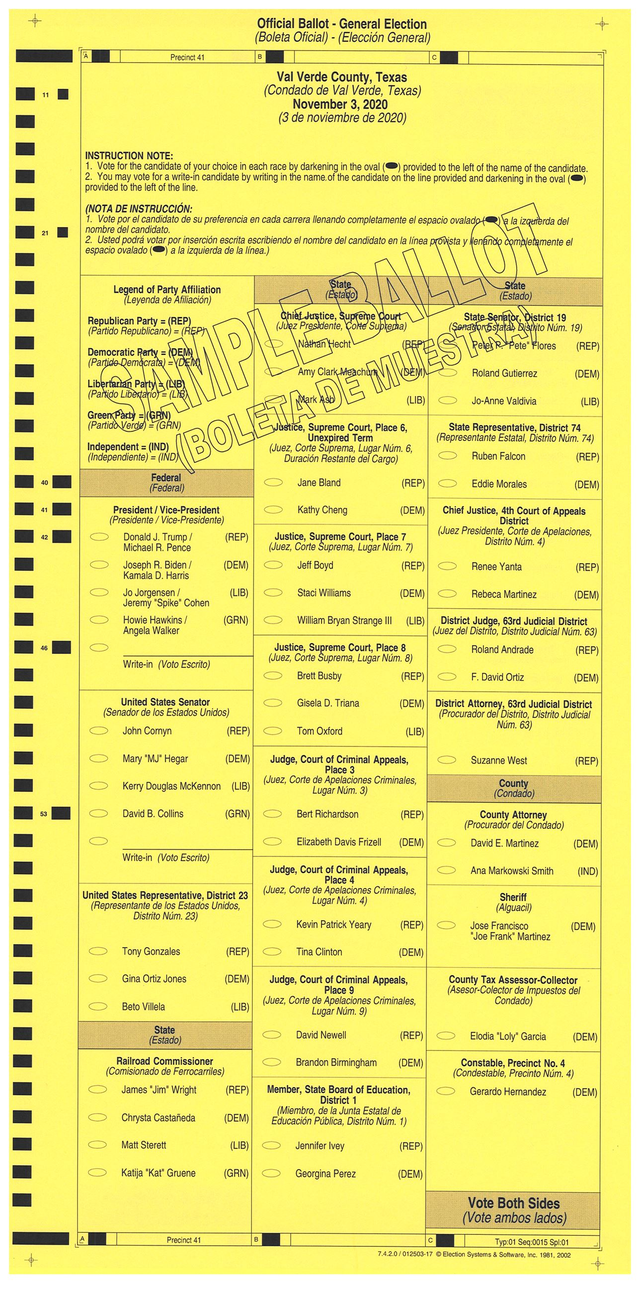 PRECINCT 41 SAMPLE BALLOT FRONT