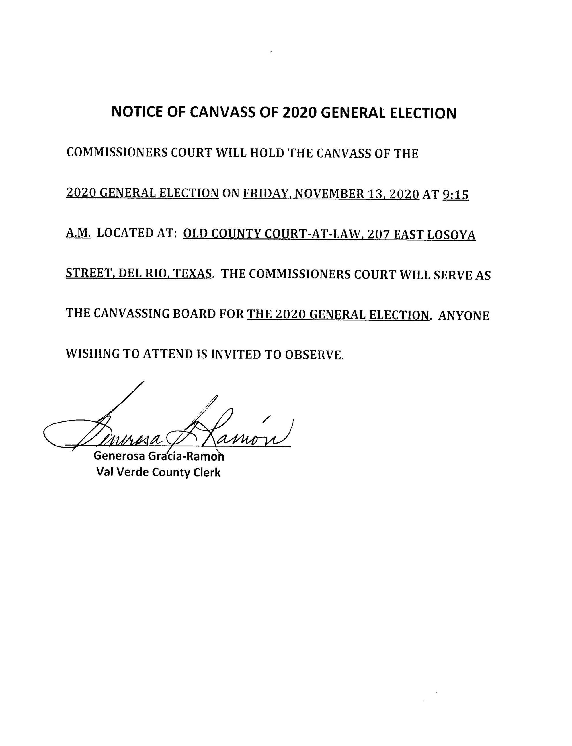 NOTICE OF CANVASS OF 2020 GENERAL ELECTION