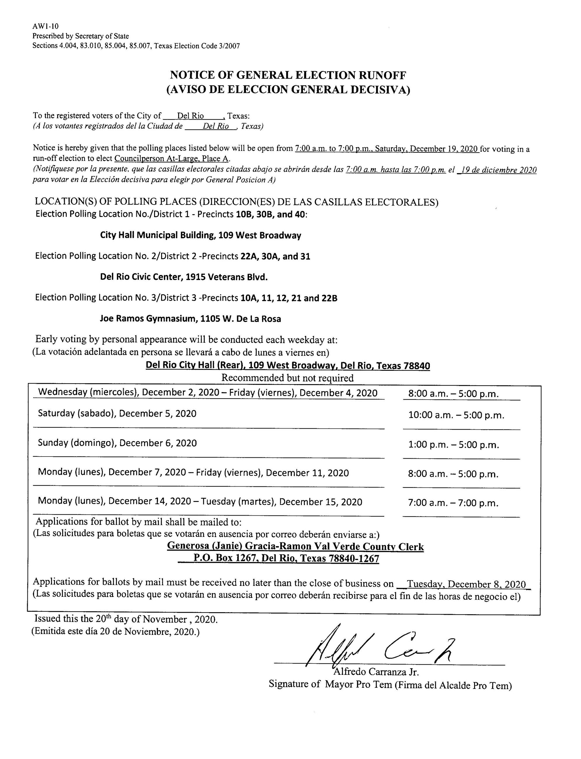 NOTICE OF GENERAL ELECTION RUNOFF
