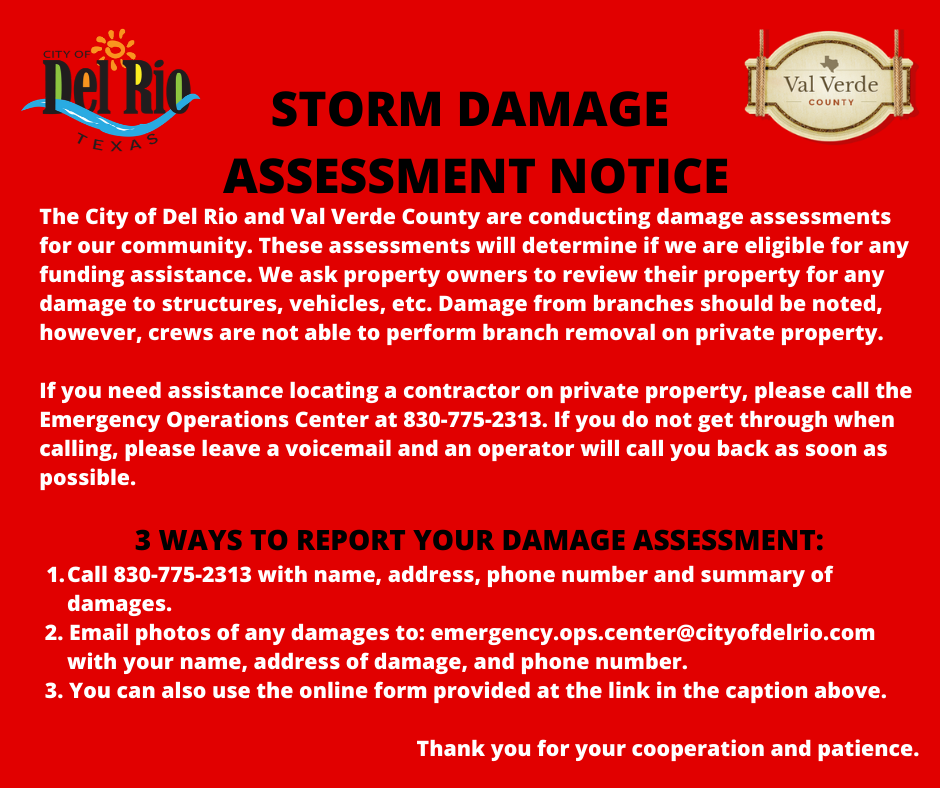 Storm Damage Assessment Notice