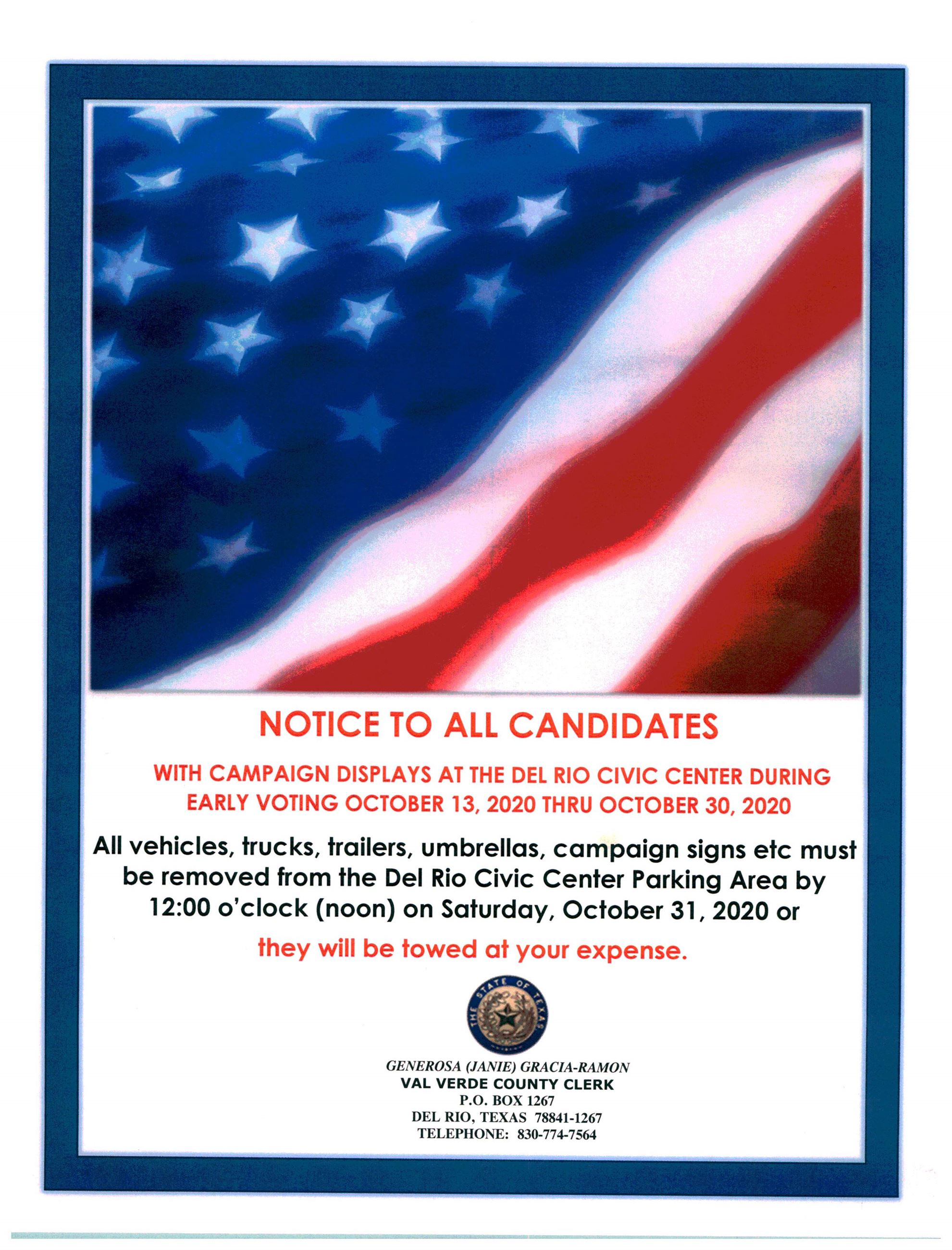 NOTICE TO ALL CANDIDATES